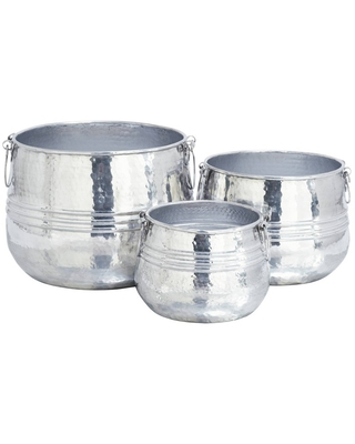 Contemporary Aluminum Planters with Handles - olivia & may