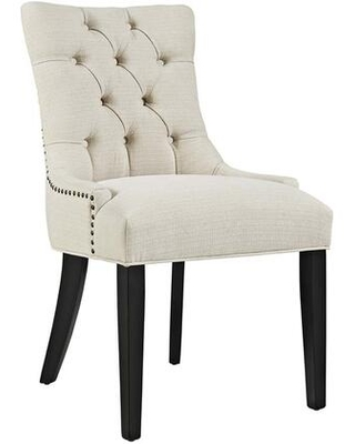 Regent Collection EEI 2223 BEI Dining Chair with Rubberwood Tapered Legs Nailhead Trim Non Marking Foot Caps Solid Wood Frame and Polyester - modway
