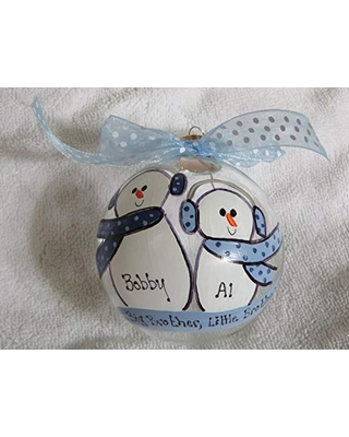 Big Brother Little Brother Personalized Christmas ornament - scrappy 2 do it!