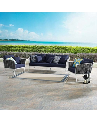 EEI 3165 WHI NAV SET Stance Outdoor Patio Aluminum Sofa and Two Armchairs - modway
