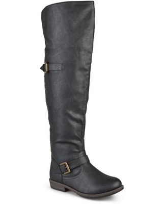 Women's Wide Calf Over the Knee Buckle Studded Boots - brinley co.