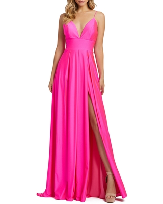 Mac Duggal Plunge Neck Pleated Gown, Size 4 in Electric Pink at Nordstrom