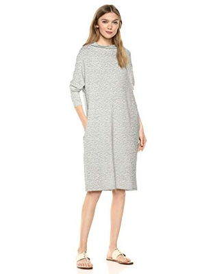 Amazon Brand Women's Supersoft Terry Oversized Fit Modern Funnel Neck Dress Heather Greypacedye - daily ritual