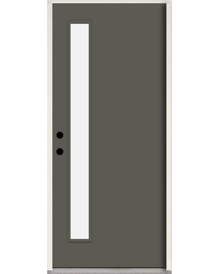 ReliaBilt Spotlights 32-in x 80-in Fiberglass 1/4 Lite Right-Hand Inswing Thunder Gray Paint Painted Prehung Single Front Door Insulating Core ENERGY
