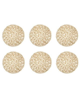 Taupe Woven Paper Round Placemat 15x 100% Paper - dii