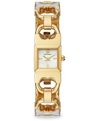 The Gemini Double T Link Two Hand Two Tone Stainless Steel Watch - tory burch