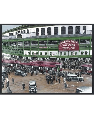 Wrigley Field Artwork by Darryl Vlasak Painting Print on Wrapped Canvas - buy art for less