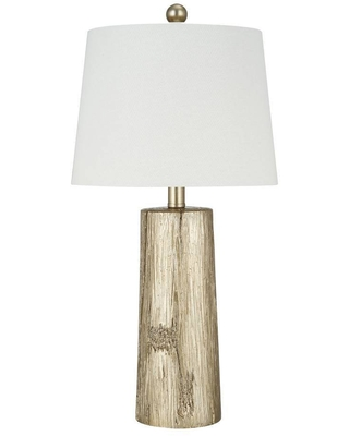 Faux Wood Table Lamp Includes LED Light Bulb Silver - cresswell lighting