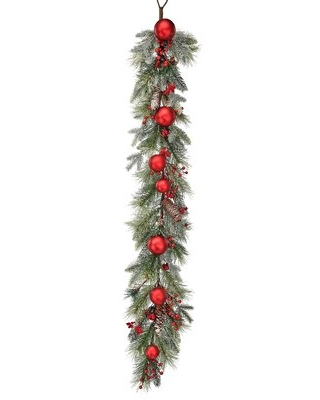 Frosted Pine Berry Ball Cone Garland - the holiday aisle