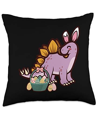 Stegosaurus Dinosaur Bunny Egg Hunting Funny Easter Throw Pillow 18x18 - easter holiday design apparel gifts