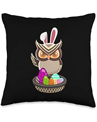 Cute Owl Easter Holiday Bunny Ears and Colored Eggs Throw Pillow 16x16 - easter holiday design apparel gifts