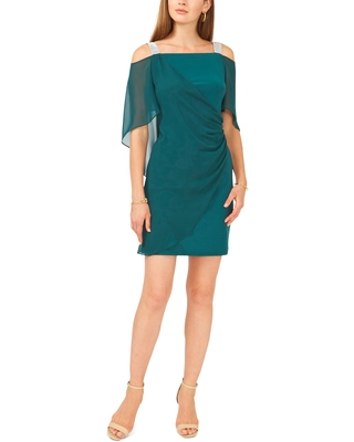 Chaus Sequin Strap Drape Cape Dress, Size Large in Emerald at Nordstrom