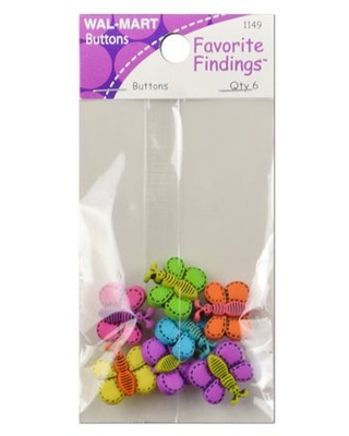 Favorite Findings Color Butterfly Dreams Buttons 6 Count - generic