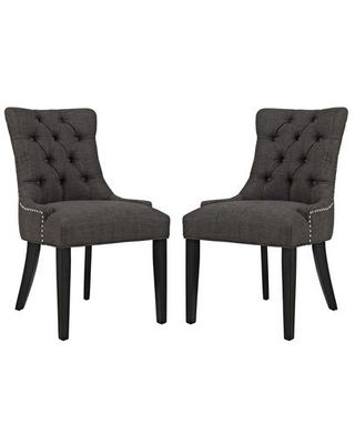 Regent Collection EEI 2743 BRN SET Dining Chairs with Rubberwood Tapered Legs Nailhead Trim Non Marking Foot Caps Solid Wood Frame - modway