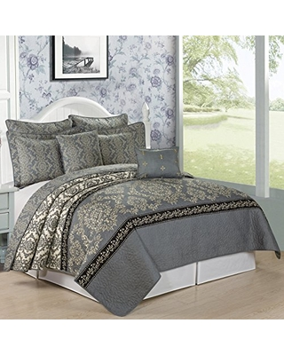 Printed Microfiber 7 Piece Quilt Set Queen Bed Cover Lightweight Reversible Bedspread Blanket Coverlet Bedding Set Thin Comforter Mystic - home soft things