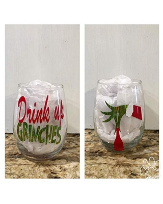 Drink Up Wine Glass Holiday Stemmed and Stemless Funny Christmas Gifts Adult Stocking Stuffers for Her Secret Santa Wine Drinker - knot in your house