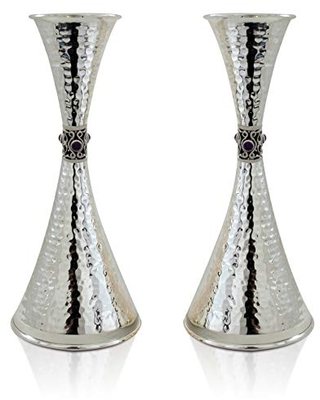 925 Sterling silver hammered Candlesticks with Amethyst stones two cone shaped Jewish Wedding gift - nadav art
