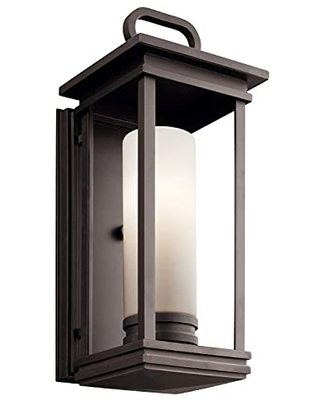 South Hope 1 Light Outdoor Wall Light with Satin Etched Cased Opal Glass - kichler