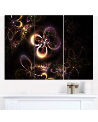 Glowing Small Fractal Flowers' Graphic Art Print Multi Piece Image on Canvas - design art
