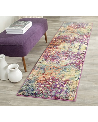 """SAFAVIEH Monaco Collection MNC225D Boho Chic Abstract Watercolor Non-Shedding Living Room Entryway Foyer Hallway Bedroom Runner, 2'2"""" x 10' , Pink / Multi"""