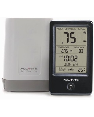 Wireless Self Emptying Digital Rain Gauge with Indoor Digital Display with Rain Alerts and History Rainfall Records 02446M - acurite