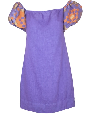 Women's Recycled Lavender Cotton Off Shoulders Mini Linen Dress With Embroidered Puff Sleeves Medium - haris cotton