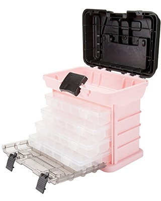 Storage and Toolbox - Durable Tool Box Organizer with 4 Compartments for Hardware Fishing Tackle Beads Hair Accessories - stalwart