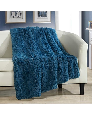 """Elena Throw Blanket Cozy Super Soft Ultra Plush Decorative Shaggy Faux Fur with Micro Mink Backing50"""" X 60"""" 50 X 60 - chic home"""
