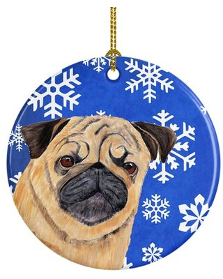 Pug Winter Snowflakes Holiday Ceramic Hanging Figurine Ornament - the holiday aisle
