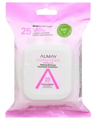 25 Count Biodegradable Micellar Makeup Remover Cleansing Towelettes - almay