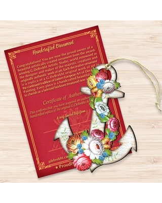 Tidaholm Floral Anchor Wooden Holiday Shaped Ornament - the holiday aisle
