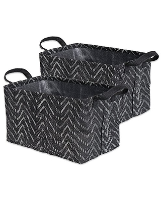 Woven Paper Rectangle Laundry Basket Collapsible Waterproof Small - dii