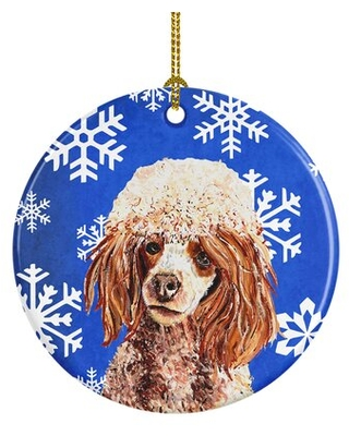 Miniature Poodle Winter Snowflakes Ceramic Hanging Figurine Ornament - the holiday aisle