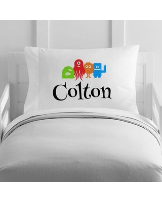 Personalized Little Monsters Toddler Pillow Case - 4 wooden shoes