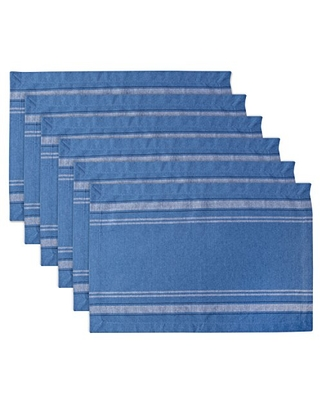 100% Cotton Everyday French Stripe Tabletop Collection Placemat Set 6 Count - dii