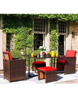 5 Pieces Patio Sets Outdoor Wicker Conversation Sets Rattan Chairs with Ottomans and Tempered Glass Table - vineego