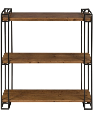 Lintz Wood and Metal Floating Wall Shelves Kate and Laurel All Things Decor - kate & laurel all things decor