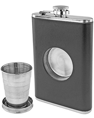 Shot Flask Hip Flask With Built In Collapsible Shot Glass - fairly odd novelties