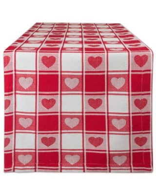 Hearts Woven Check Table Runner 14X108 - dii