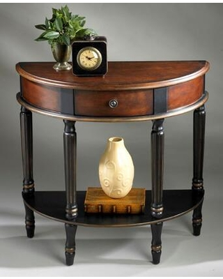 Mozart Collection 0667104 Demilune Console Table with Traditional Style Demilune Shape and Solid Wood in Cafe Noir - butler