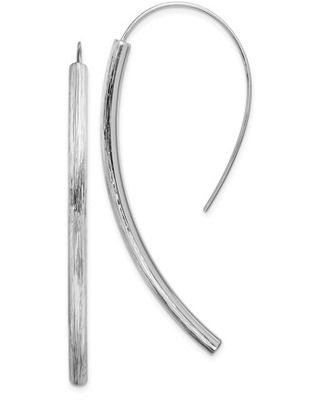 Sterling Silver Rhodium plated Polished and Textured Bar Dangle Earrings - primal silver