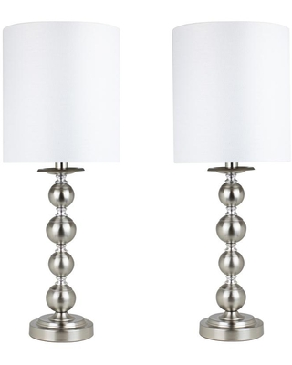 5 in Brushed Nickel Table Lamps with Stacked Sphere Design and Semi Gloss Linen Drum Shades 2 Pack - grandview gallery