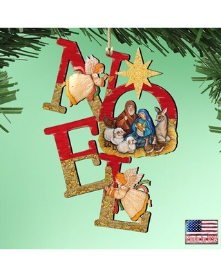 Tidaholm Noel Nativity Wooden Holiday Shaped Ornament - the holiday aisle