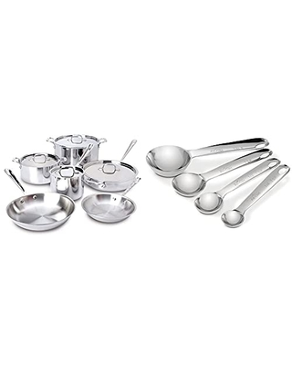 401877R Stainless Steel 3 Ply Bonded Dishwasher Safe Cookware Set 10 Piece Silver 8400000960 & 59918 Stainless Steel Measuring Spoon Set 4 Piece Silver - all-clad