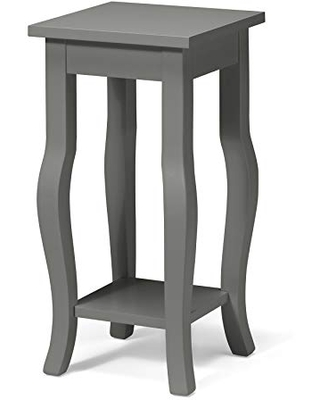 Lillian Classic Wood Pedestal End Table with Curved Cabriole Legs and Lower Shelf Satin - kate and laurel