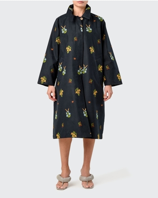 Floral Embroidered Mid Trench Coat - silvia tcherassi