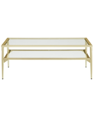 42 Metal and Glass 2 Tier Modern Coffee Table - welwick designs