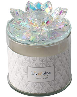 Crystal Scented Soy Candle Lotus Box Rainbow - sagebrook home