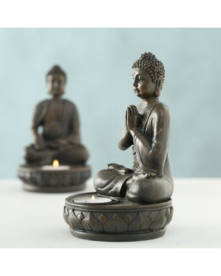 Maston Welcome Buddha Tealight Candle Holder in Welcome Seated Pose - world menagerie