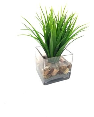 Faux Grass in Square Glass Vase - highland dunes